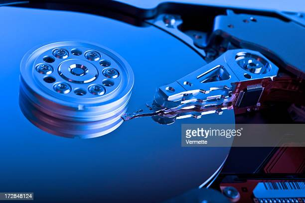 A close-up picture of a computer hard drive