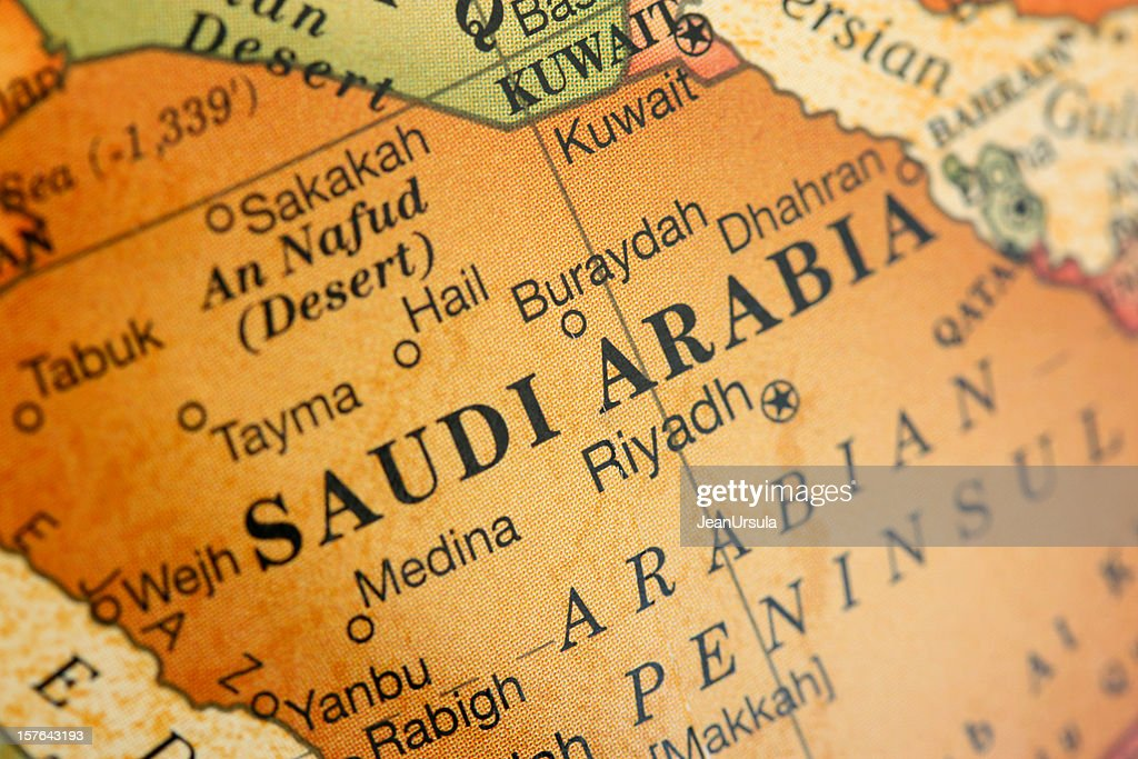 Close-up picture of a map of Saudi Arabia : Stock Photo