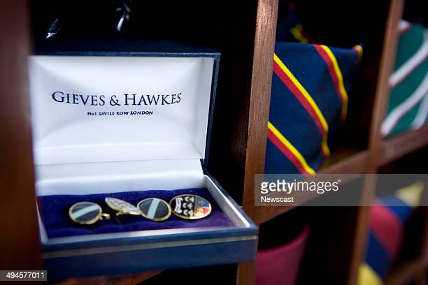 Closeup picture of accesories and ties in the flagship Gieves Hawkes store on Savile Row London
