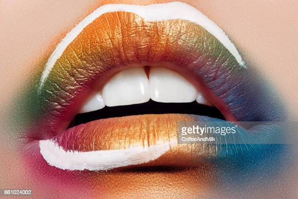 close-up picture of female lips - stage make up stock photos and pictures