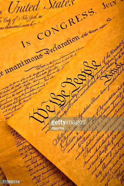 close-up picture of the united states constitution - bill of rights stock photos and pictures