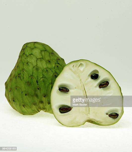 –Closeup pictures of a sectioned cherimoya fruit April 28 2006