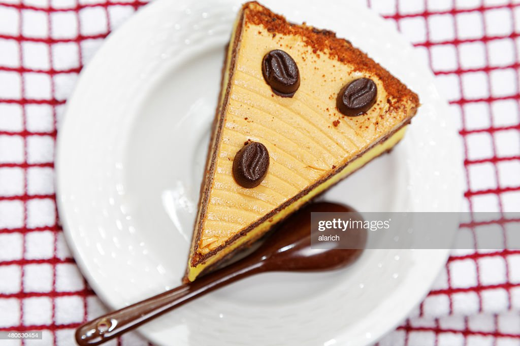 close-up piece of cake on the table : Stock Photo