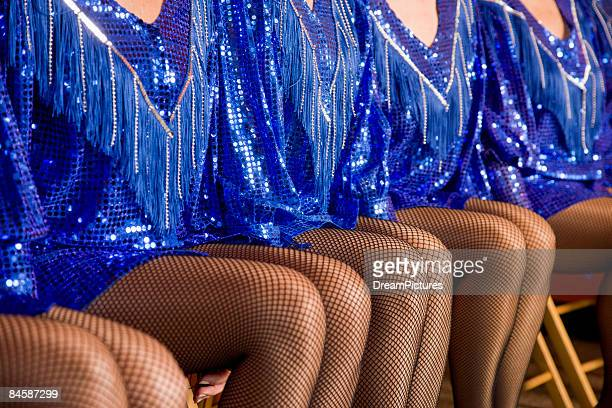 close-up portrait of a group of women tap dancers - old women in pantyhose stock photos and pictures