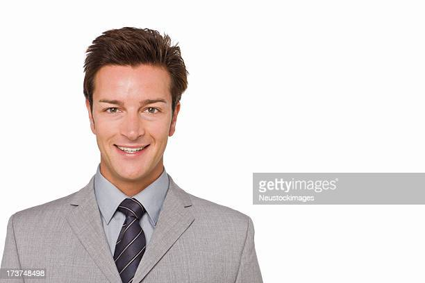 Closeup portrait of a happy young businessman