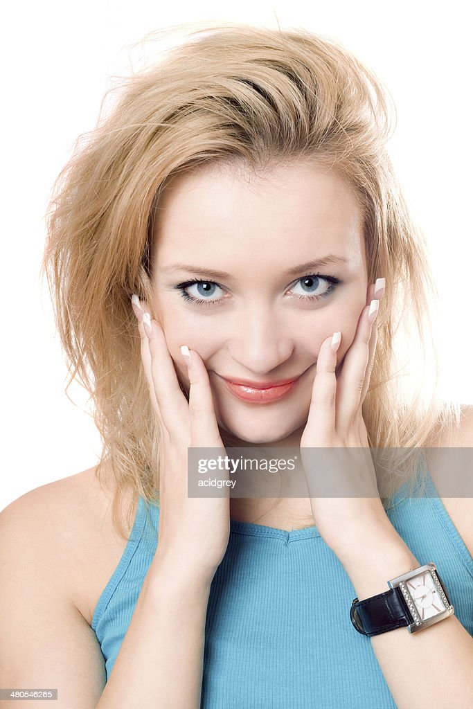 Closeup portrait of a smiling attractive blonde : Stock Photo