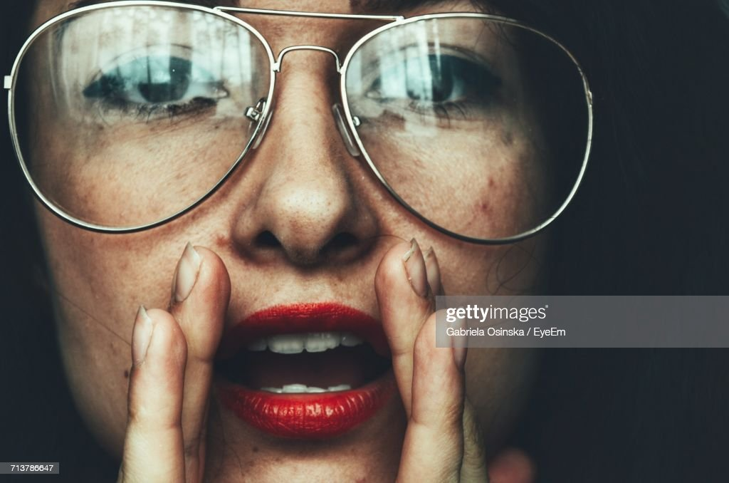 Close-Up Portrait Of A Woman Wearing Glasses : Stock Photo