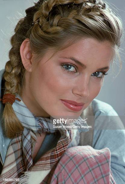 Closeup portrait of American fashion model Kelly Emberg in a plaid woolen scarf New York New York October 1978 The photo was taken as part of an ad...