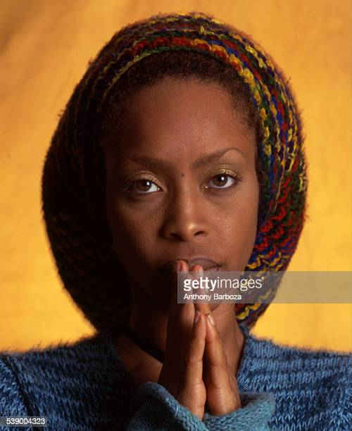Closeup portrait of American RB jazz and pop singer Erykah Badu New York 2000