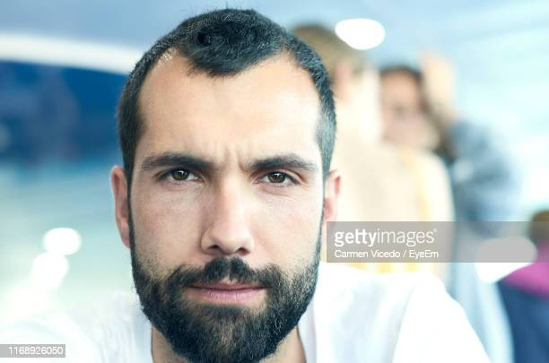 close-up portrait of bearded man - receding hairline stock pictures, royalty-free photos & images