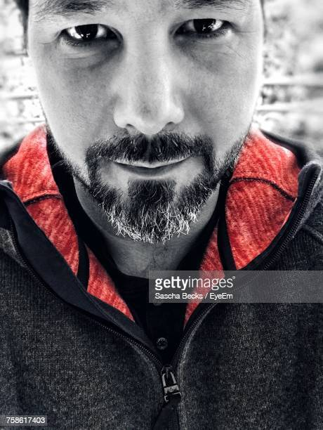 close-up portrait of bearded man - isolated color stock pictures, royalty-free photos & images