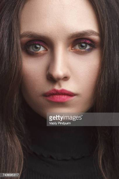 close-up portrait of beautiful young woman - pink lipstick stock photos and pictures