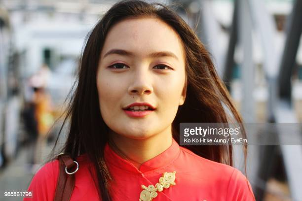 close-up portrait of beautiful young woman - ko ko htike aung stock pictures, royalty-free photos & images