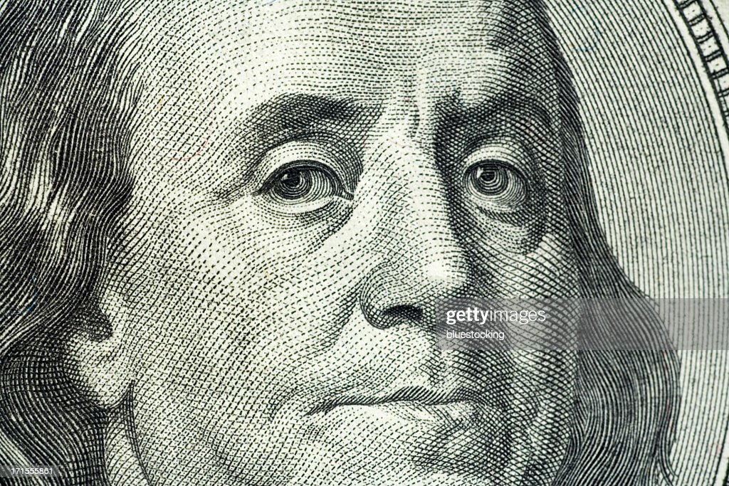 Closeup portrait of Benjamin Franklin on hundred dollar bill : Stock Photo