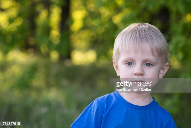 close-up portrait of boy with blond hair at park - igor golovniov stock pictures, royalty-free photos & images