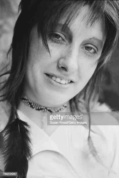 Closeup portrait of British fashion designer Zandra Rhodes 1970