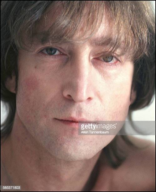 Closeup portrait of British musician John Lennon in a SoHo gallery New York New York November 26 1980 The gallery was one of several settings used by...