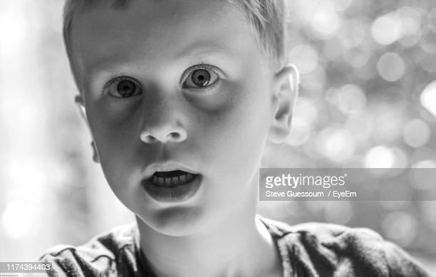 close-up portrait of cute boy - steve guessoum stockfoto's en -beelden