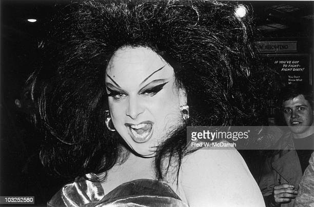 Closeup portrait of drag queen actor Divine at the theatrical premiere of thr film 'Female Trouble' New York New York February 12 1975