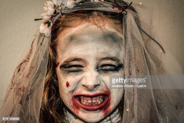 Close-Up Portrait Of Girl With Make-Up During Halloween
