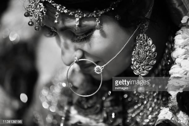 close-up portrait of indian bride - indian wedding stock pictures, royalty-free photos & images