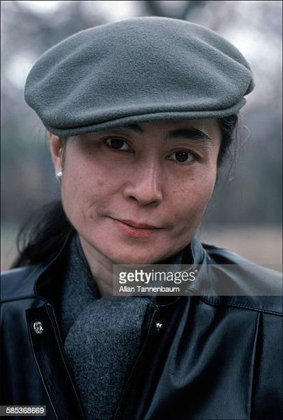 Closeup portrait of Japaneseborn artist and musician Yoko Ono dressed in a leather jacket a beret and sunglasses in Central Park New York New York...