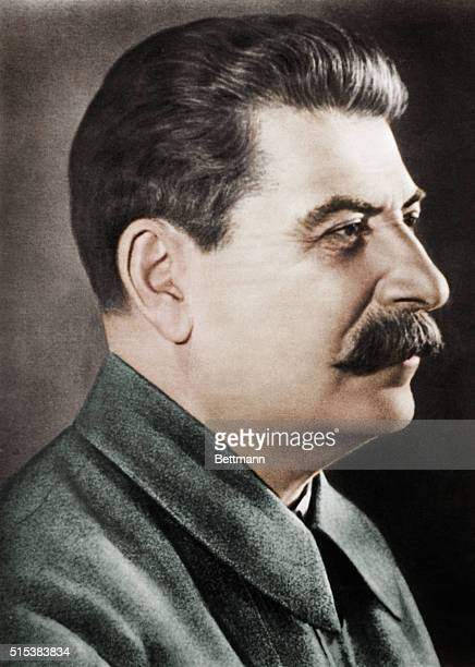 Closeup portrait of Joseph Stalin in profile Undated photograph