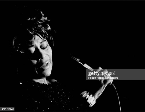 Closeup portrait of legendary jazz singer Ella Fitzgerald performing on stage ca1970