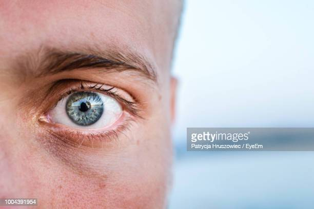 close-up portrait of man - extreme close up stock pictures, royalty-free photos & images