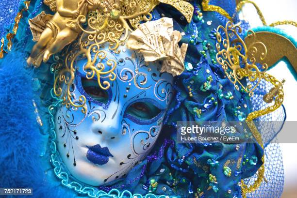 Close-Up Portrait Of Person In Costume During Carnival