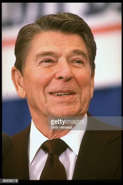 Closeup portrait of President Ronald Reagan at GOP fundraiser