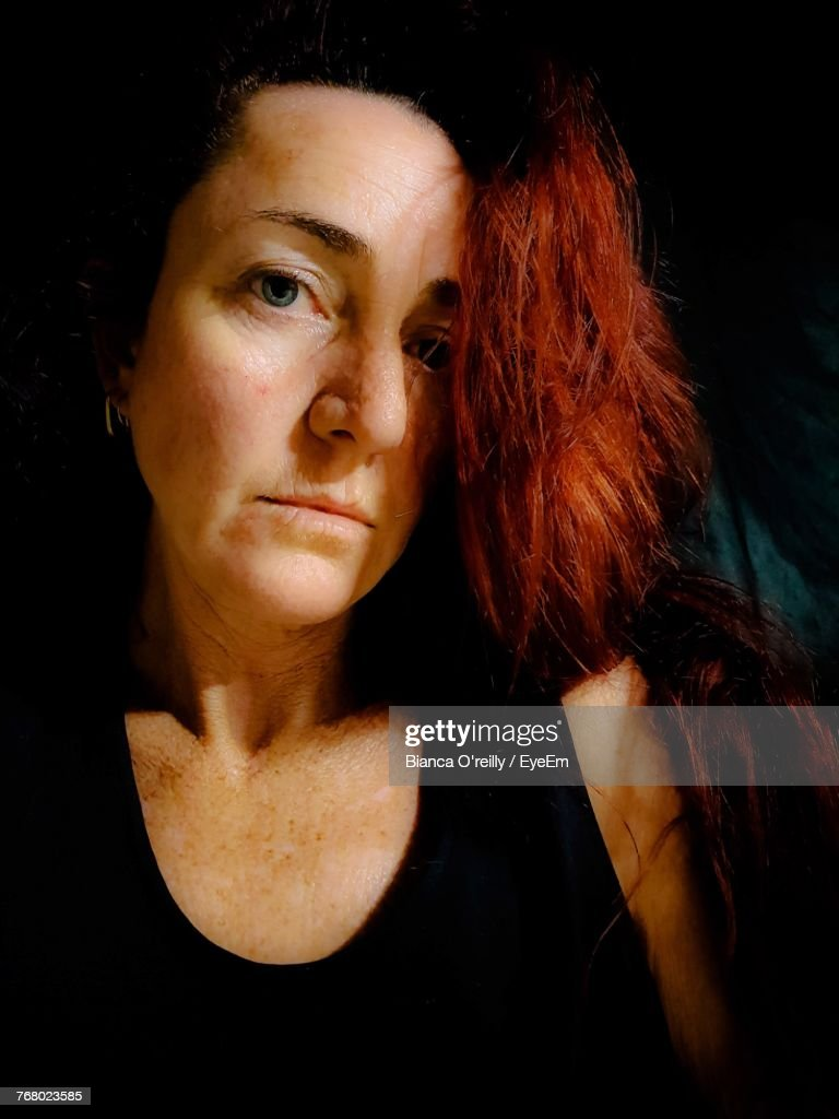 closeup portrait of redhead mature woman stock photo   getty images