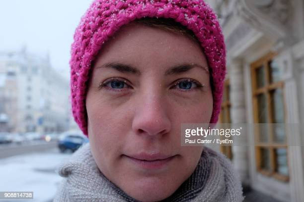 Close-Up Portrait Of Smiling Mid Adult Woman During Winter