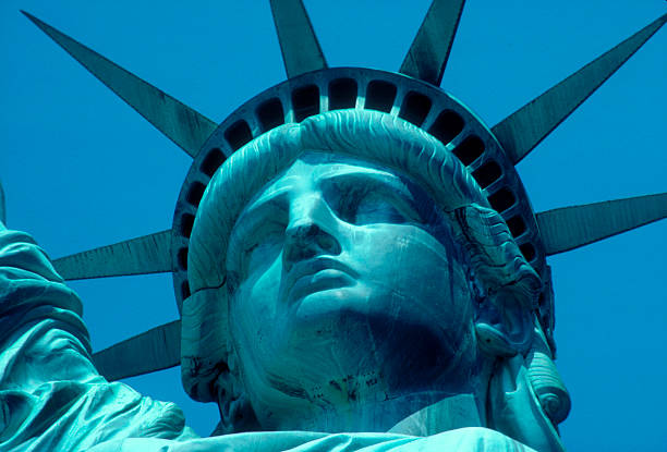 Close-up Portrait Of The Statue Of  Liberty Wall Art