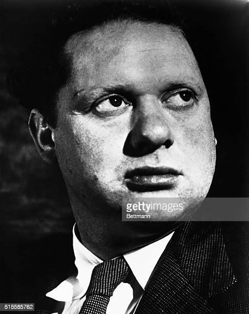 Closeup portrait of Welsh poet Dylan Thomas Undated photograph
