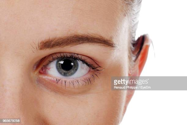 close-up portrait of woman against white background - eyelid stock photos and pictures
