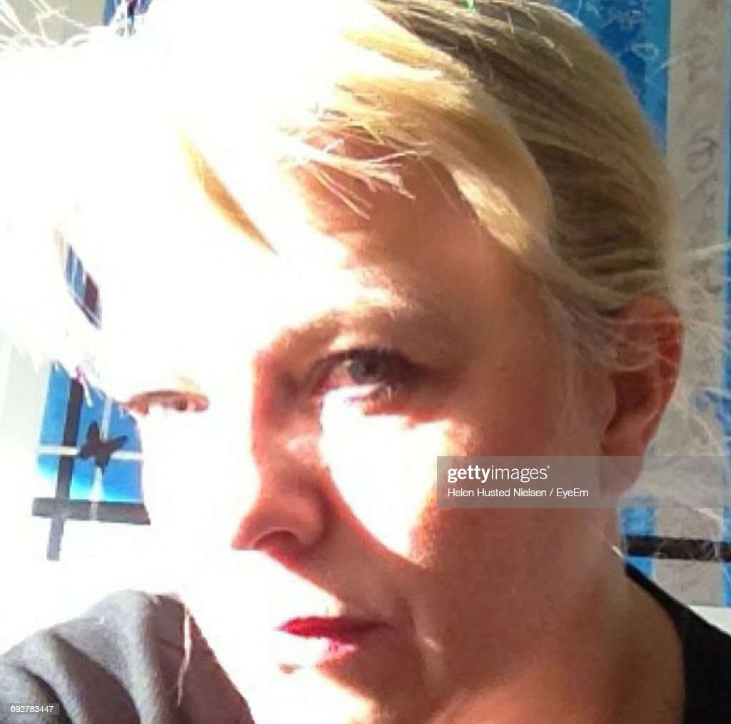 Close-Up Portrait Of Woman During Sunny Day : Stock Photo