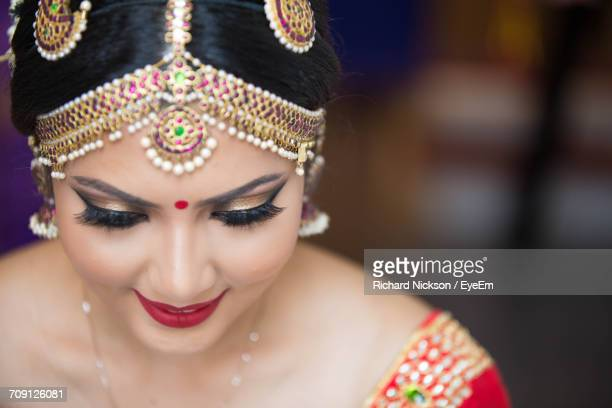 close-up portrait of woman - bindi stock pictures, royalty-free photos & images