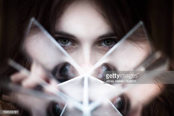 close-up portrait of woman - mirror stock photos and pictures