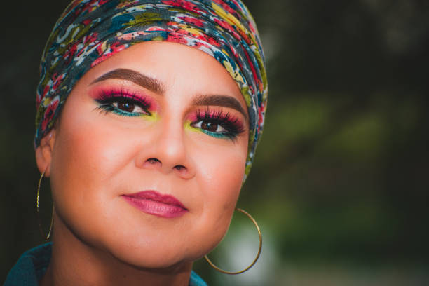 Close-up portrait of woman wearing colorful make-up,Newport News,Virginia,United States,USA