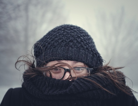 Close-Up Portrait Of Woman Wearing Warm Clothing During Winter - gettyimageskorea