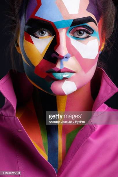 close-up portrait of woman with face paint - body paint stock pictures, royalty-free photos & images
