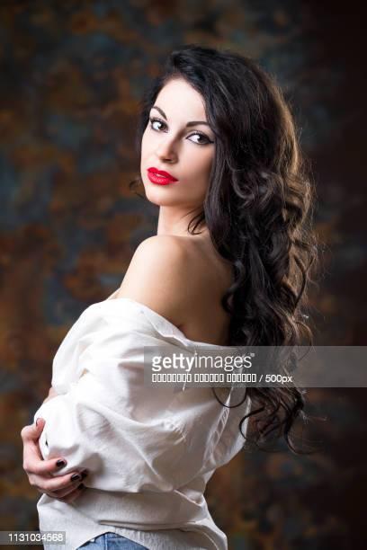 Closeup Portrait Of Young Brunette Woman