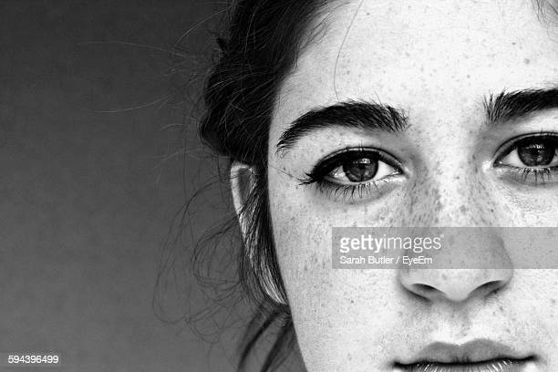 close-up portrait of young woman - black and white ストックフォトと画像