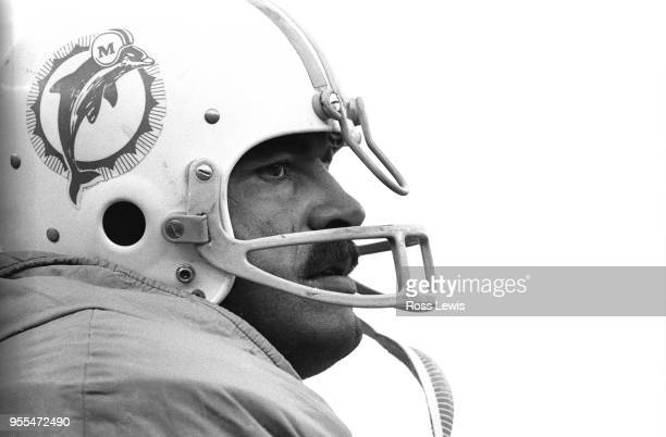 CloseUp profile of Larry Csonka fullback of the Miami Dolphins during the NFL football game between the New York Jets and Miami Dolphins at Shea...