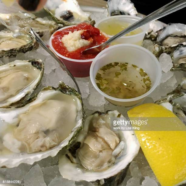 Close-up raw bar oyster platter