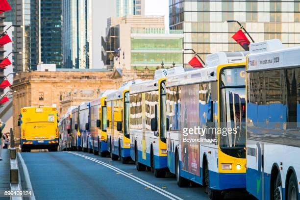 Close-up rush hour bus congestion on Victoria bridge, Brisbane Queensland