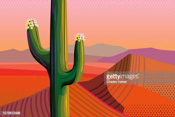 Close-up Saguaro Cactus in Bloom, Mountains in Desert Landscape Illustration