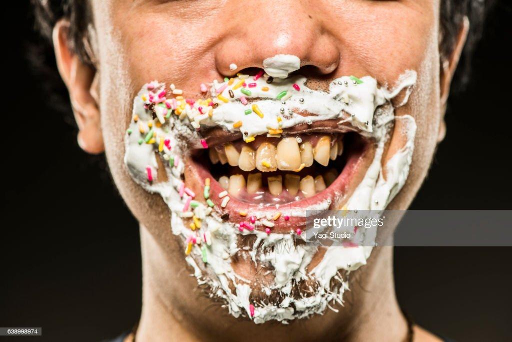 Close-up shot around a man's mouth : Stock Photo