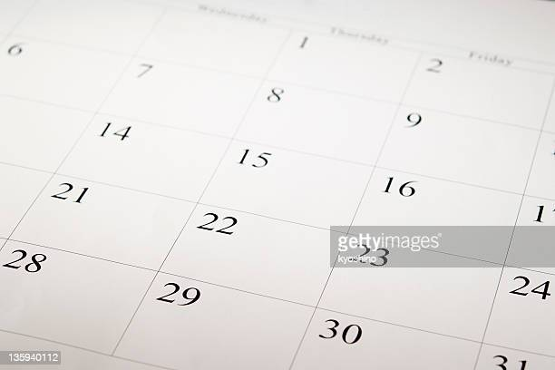 Close-up shot of a blank calendar with calendar date